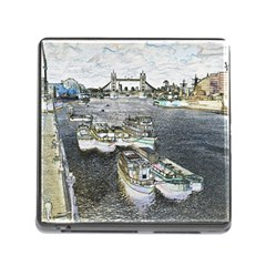River Thames Art Card Reader with Storage (Square)
