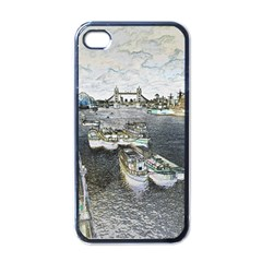 River Thames Art Black Apple Iphone 4 Case