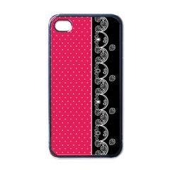 Lace Dots With Black Pink Apple Iphone 4 Case (black)
