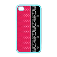 Lace Dots With Black Pink Apple iPhone 4 Case (Color)
