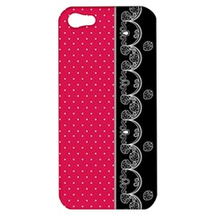 Lace Dots With Black Pink Apple iPhone 5 Hardshell Case