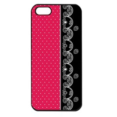 Lace Dots With Black Pink Apple Iphone 5 Seamless Case (black)