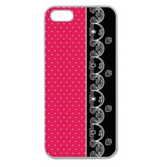 Lace Dots With Black Pink Apple Seamless Iphone 5 Case (clear)