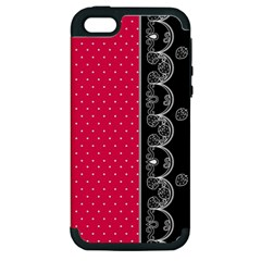 Lace Dots With Black Pink Apple iPhone 5 Hardshell Case (PC+Silicone)
