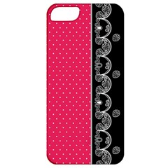 Lace Dots With Black Pink Apple iPhone 5 Classic Hardshell Case