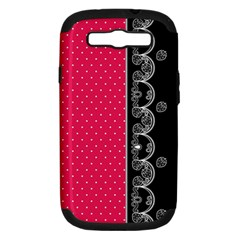 Lace Dots With Black Pink Samsung Galaxy S III Hardshell Case (PC+Silicone)