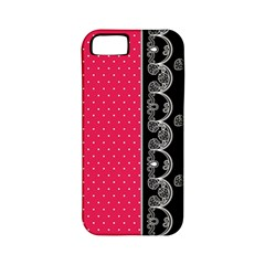 Lace Dots With Black Pink Apple iPhone 5 Classic Hardshell Case (PC+Silicone)