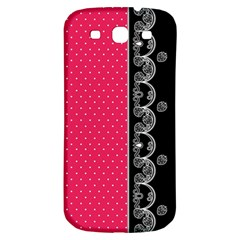 Lace Dots With Black Pink Samsung Galaxy S3 S III Classic Hardshell Back Case