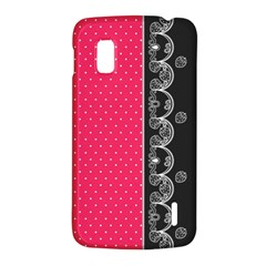 Lace Dots With Black Pink LG Nexus 4 E960 Hardshell Case