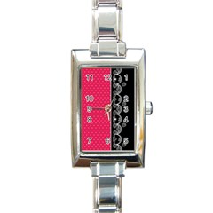 Lace Dots With Black Pink Rectangular Italian Charm Watch