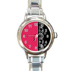 Lace Dots With Black Pink Round Italian Charm Watch