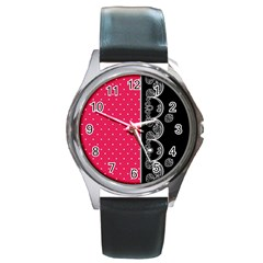 Lace Dots With Black Pink Round Metal Watch