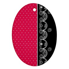 Lace Dots With Black Pink Ornament (Oval)