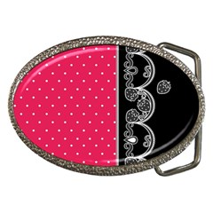 Lace Dots With Black Pink Belt Buckle