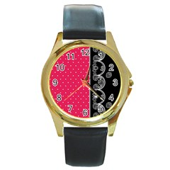 Lace Dots With Black Pink Round Gold Metal Watch