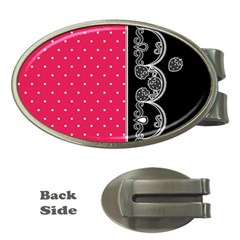 Lace Dots With Black Pink Money Clip (oval)