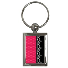 Lace Dots With Black Pink Key Chain (Rectangle)