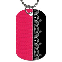 Lace Dots With Black Pink Dog Tag (Two Sides)