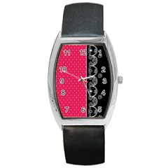 Lace Dots With Black Pink Barrel Style Metal Watch