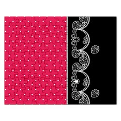 Lace Dots With Black Pink Jigsaw Puzzle (Rectangular)
