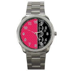 Lace Dots With Black Pink Sport Metal Watch