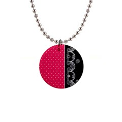 Lace Dots With Black Pink 1  Button Necklace