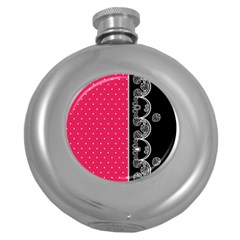 Lace Dots With Black Pink Hip Flask (5 Oz)