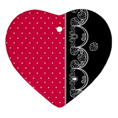 Lace Dots With Black Pink Heart Ornament (Two Sides)
