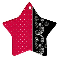 Lace Dots With Black Pink Star Ornament (two Sides)