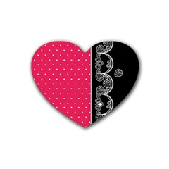 Lace Dots With Black Pink Rubber Coaster (heart)