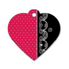 Lace Dots With Black Pink Dog Tag Heart (Two Sides)