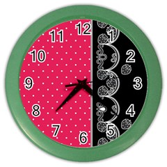 Lace Dots With Black Pink Color Wall Clock