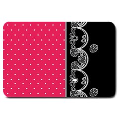 Lace Dots With Black Pink Large Doormat