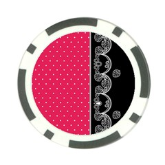 Lace Dots With Black Pink Poker Chip Card Guard