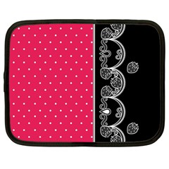 Lace Dots With Black Pink Netbook Case (Large)