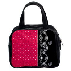 Lace Dots With Black Pink Classic Handbag (Two Sides)