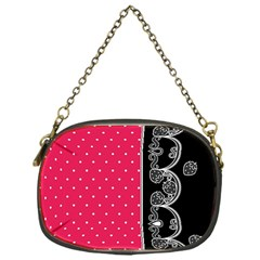 Lace Dots With Black Pink Chain Purse (One Side)