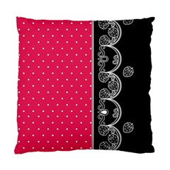 Lace Dots With Black Pink Cushion Case (two Sides)