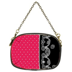 Lace Dots With Black Pink Chain Purse (Two Sides)