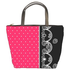 Lace Dots With Black Pink Bucket Bag