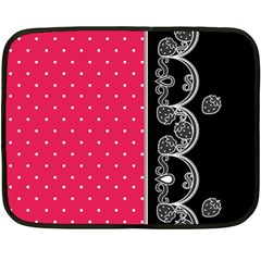 Lace Dots With Black Pink Mini Fleece Blanket(Two Sides)