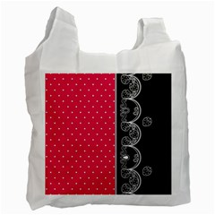 Lace Dots With Black Pink Recycle Bag (One Side)