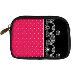 Lace Dots With Black Pink Digital Camera Leather Case