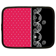 Lace Dots With Black Pink Netbook Case (XL)