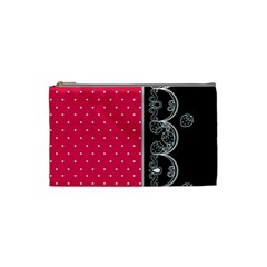 Lace Dots With Black Pink Cosmetic Bag (Small)