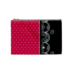 Lace Dots With Black Pink Cosmetic Bag (medium)