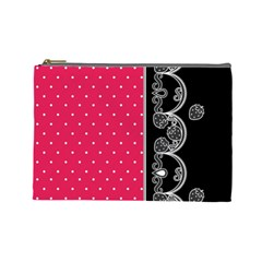 Lace Dots With Black Pink Cosmetic Bag (Large)