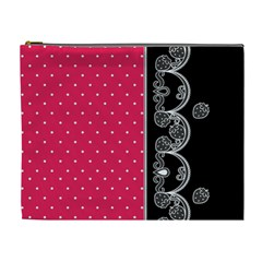 Lace Dots With Black Pink Cosmetic Bag (XL)