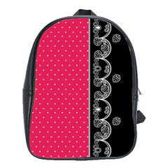 Lace Dots With Black Pink School Bag (Large)