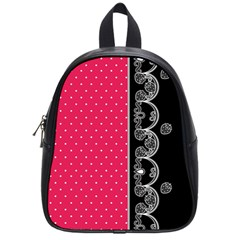 Lace Dots With Black Pink School Bag (small)